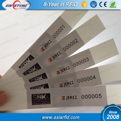 UHF PP synthetic Paper Wristband for Marathon Match